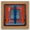 2006, acrylic and found fabric on burlap, 34 x 34 in./86 x 86 cm.
