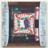 2007, acrylic and found fabric on burlap, 34 x 34 in./86 x 86 cm.