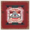 2007, acrylic and found fabric on burlap, 70 x 70 in./179 x 179 cm.