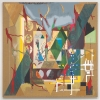 2008, acrylic and found fabric on burlap, 70 x 70 in./179 x 179 cm.